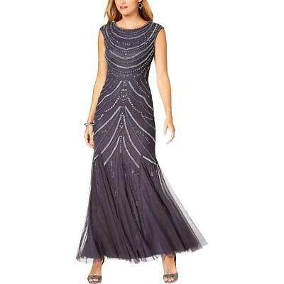 Adrianna Papell Womens Gray Embellished Trumpet Evening Dress Gown 16 BHFO 2281