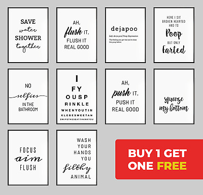 Bathroom Prints, Funny Quote Toilet Posters, Vintage Art, Home Decor Gifts B3
