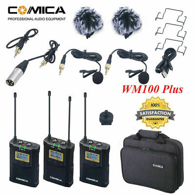 CoMica CVM-WM100 PLUS UHF 48-Channels Wireless Dual Lavalier Microphone Mic WN