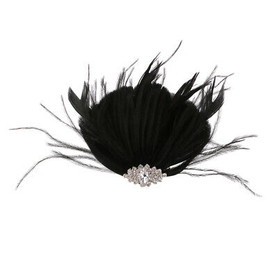 Women Ladies Feather Hair Clip Wedding Party Fascinator Headpiece Black