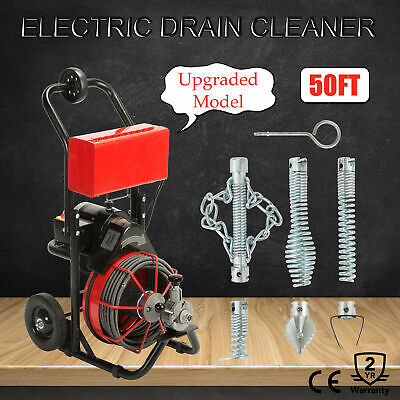 50FT*1/2'' Drain Auger Pipe Cleaner Cleaning Machine Local Portable Sewer Snake