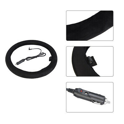 12V Winter Warm Comfortable Heated Steering Wheel Cover Black Car Accessory UK