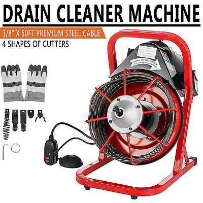 "Commercial 50FT Electric Drain Auger Snaker Cleaner Plumbing 3/8"" Cable Cut"
