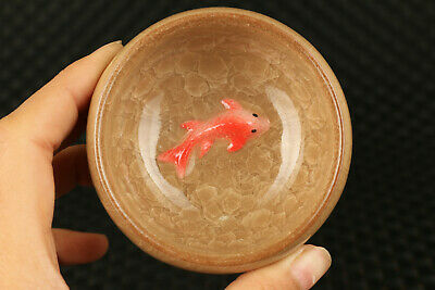 chinese Ice to crack porcelain fish Kungfu tea cup bowl