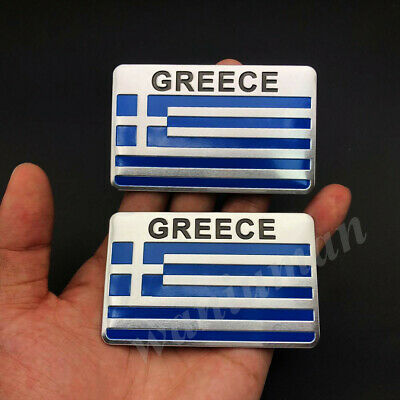 GREECE FLAG CAR GRILLE EMBLEM BADGES