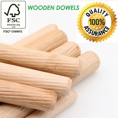 100 12mm x 40mm FLUTED HARDWOOD WOODEN DOWEL PIN FOR WOODWORKING FWS