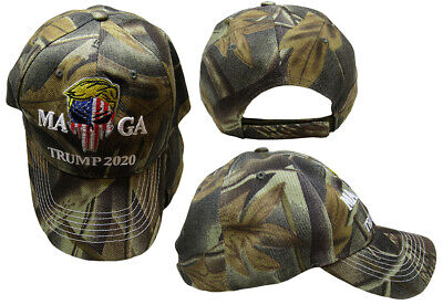 MAGA Trump 2020 USA Demon Punisher Skull Woodland Camo Embroidered Hat Cap