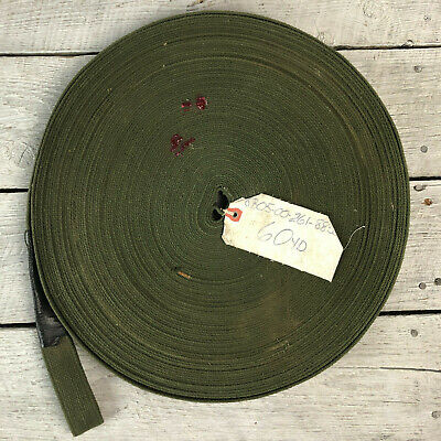 """Roll of Green %100 Cotton Flat Military Strap 1 1/4 """" x 60 Yd"""