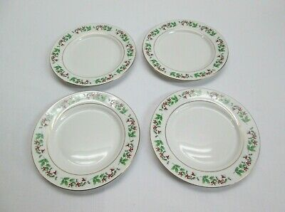 """Gibson everyday china dinnerware """"Holly Berry Gold Trim"""" 4 plates"""