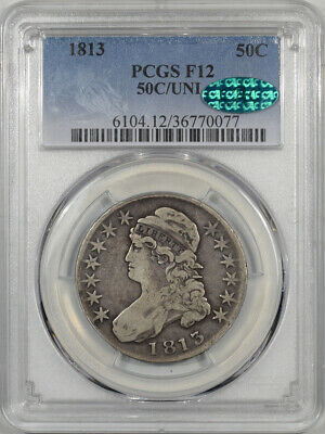 1813 Capped Bust Half Dollar, 50C/Uni, Pcgs F-12 Cac, Original & Popular