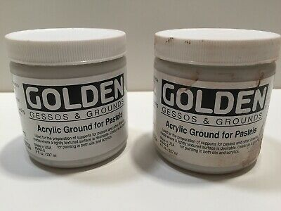 GOLDEN Acrylic Ground for Pastels * TWO 8 oz Jars USED * oil acrylic grounds