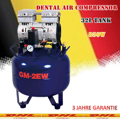 Dental Lab Air Compressor Kompressor Noiseless Oilless Oil Free 32L 850W DE SALE