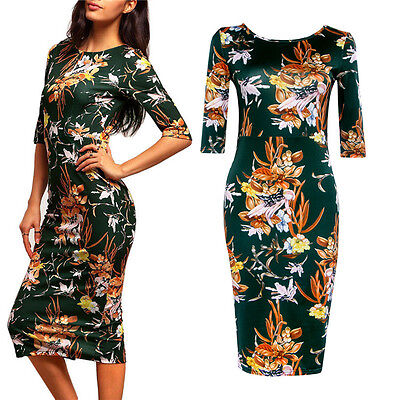 Women Short Sleeve Sexy Flowers Pattern Bodycon Party Cocktail Pencil Dress