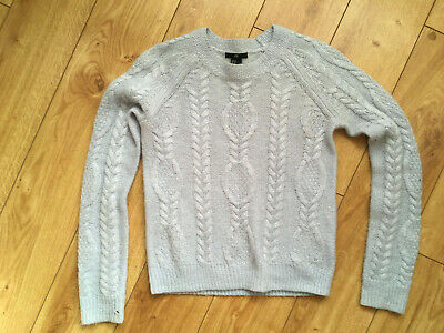 H&M pale pastel light ice blue wool style jumper knit XS LOGG