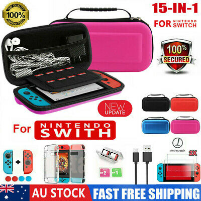 Switch Case Carrying Bag+Shell Cover+Charging Cable+Screen Protector Fr Nintendo