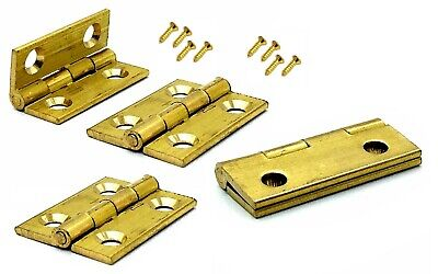 Small Hinges + Screws Brassed Jewellery Box Dolls House Hinge