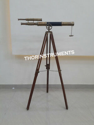 Classical Double Barrel Antique  Brass Telescope With Wooden Tripod Stand