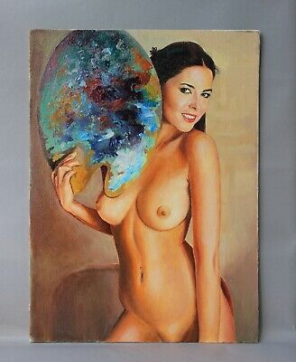 Oil painting on canvas (handmade) nude girl 12 x 16 inches