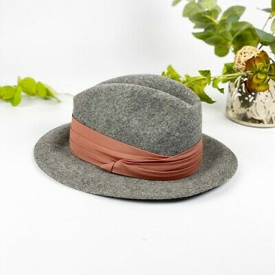 VTG Lancaster Wool Felt Fedora Light Gray Hat Rust Color Band 2 Inch Brim