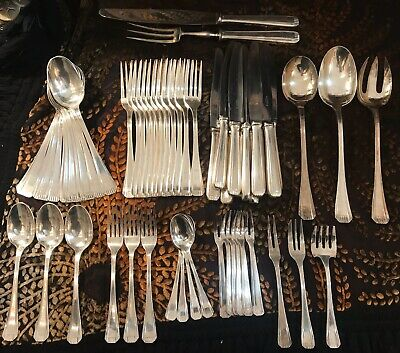 Menagere ART DECO  Metal Argente  58 Pieces / ALFENIDE MAISON CHRISTOFLE