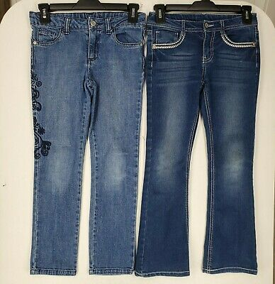 Faded Glory Girls Bootcut & SkinnyJeans size 8 Embroidered Blue Denim Lot of 2