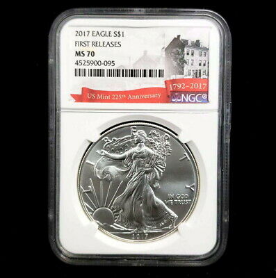 2017 US American Silver Eagle $1 Dollar NGC MS70 225th Mint Annivers Coin BW0095