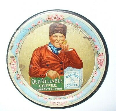 Antique Old Reliable Coffee Tip Tray Lithograph Advertising Tin Pin Man Pipe Oh