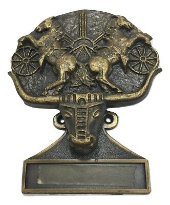 Longhorn Steer Two Rearing Horses Door Knocker Cast Brass w Name Plate 5.25x4.75