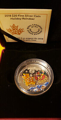 2018 'Holiday Reindeer (Murano Glass) Proof $20 FINE Silver Coin 1oz