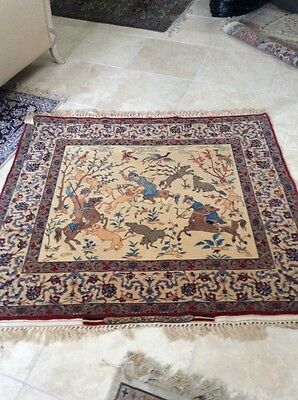 Authentic Hossein Seirafian Hunting Scene Hand Made Rug Carpet Antique
