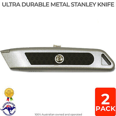 2 PACK Heavy Duty Metal Stanley Knife Auto-Retract Safety Blade Utility Knives