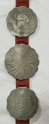 Antique Hammered Nickle And Red Leather Storybook Concho Belt (9 Conchos)
