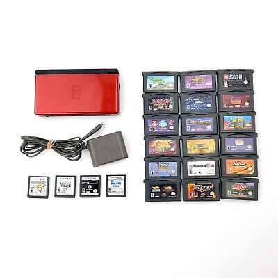 Red Nintendo DS Lite Bundle 22 Games (18 GBA, 4 DS) w/ Stylus & Charger TESTED