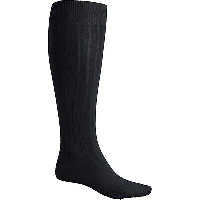 Pantherella Merino Wool Mens Over the Calf Oakdale Ribbed Socks Black Med or Lg