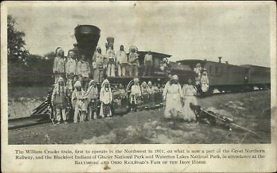 William Crooks RR Train Blackfeet Indians First Operate Great Northern Railway