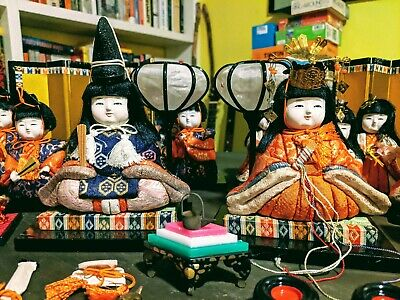Vintage Japanese Hina Ningyo Matsuri Girl's Doll's Day Set Lacquer Furniture