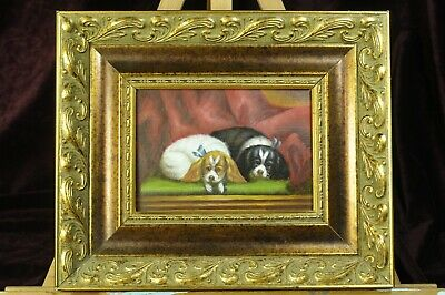 Original acrylic portrait painting on board of two small dogs