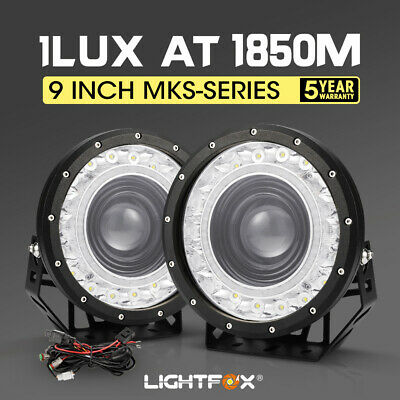 LightFox 9inch CREE LED Driving Lights Pair Round Black Spotlights 4x4 w/ Wiring