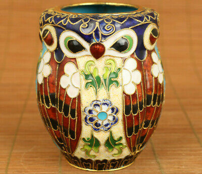 China old cloisonne Handcarved owl statue noble brush pot table decoration
