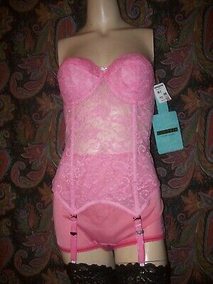 NWT Vintage Goddess Pink Lacy Long Line Padded Garter Corset Bustier 36C ($139)