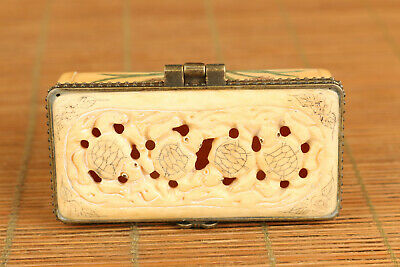 Chinese old hand carving tortoise statue figue netsuke snuff jewelry box