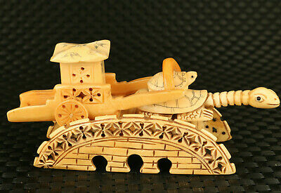 Chinese rare old antler hand carving tortoise vehicle statue decoration gift