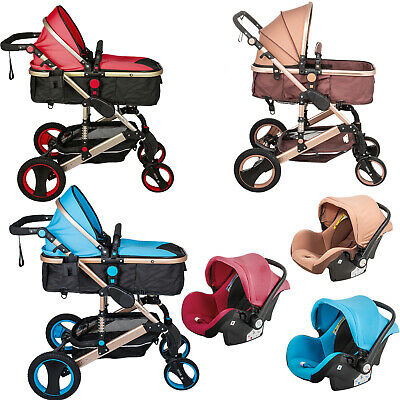3 in 1 Baby Stroller Pram Foldable Pushchair Reclining Reversible With Car Seat