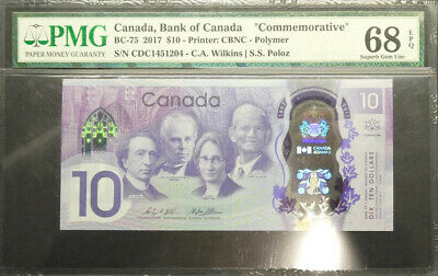 2017 Canada Commemorative $10 Polymer Banknote PMG 68 Superb GEM UNC