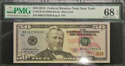 2013 United States New York $50 Banknote PMG 68 Superb GEM UNC