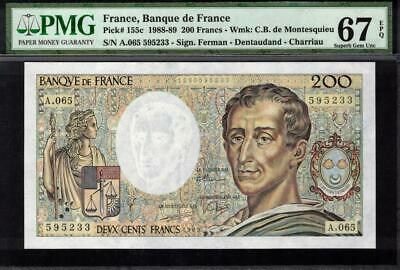 1988-89 France 200 Francs Banknote PMG 67 Superb GEM UNC