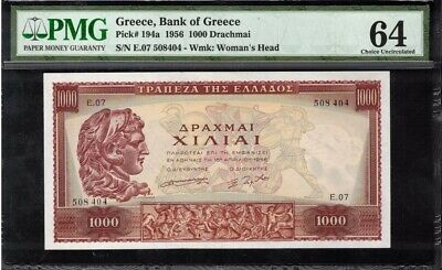 1956 Greece 1000 Drachmai Banknote PMG 64 Choice Uncirculated