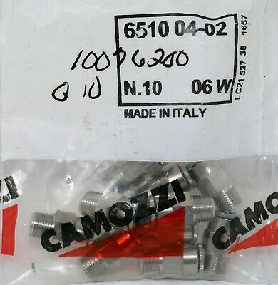 Pack 10 Camozzi P6510 04-02 1/4in Tube Push 1/8NPTF Inch-NPTF Male Connector