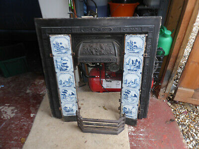 Antique Victorian Cast Iron Fireplace Insert With Blue White Tiles