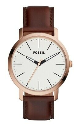 Fossil Women's Luther BQ2371 44mm Silver Dial Leather Watch